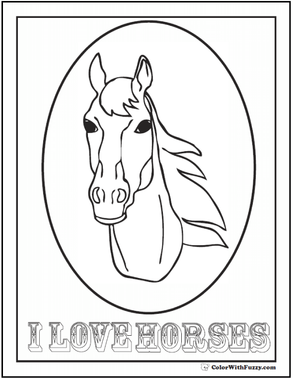 I Love Horses Coloring Page - Framed Head With Words