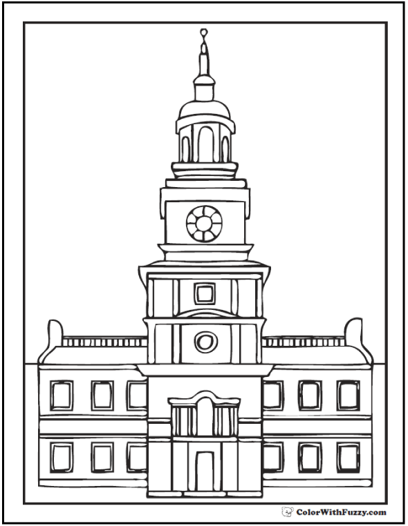 Independence Hall Fourth of July coloring page.