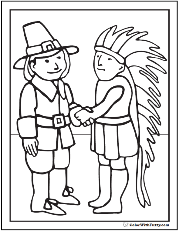 Indian Pilgrim Coloring Sheet: Hat, feathers, handshake.