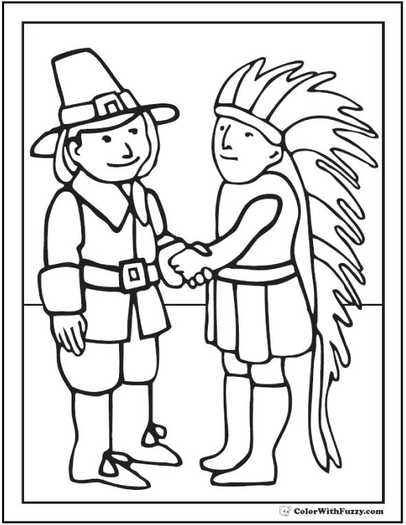 Indian Pilgrim Coloring Sheet: Hat, feathers, handshake.