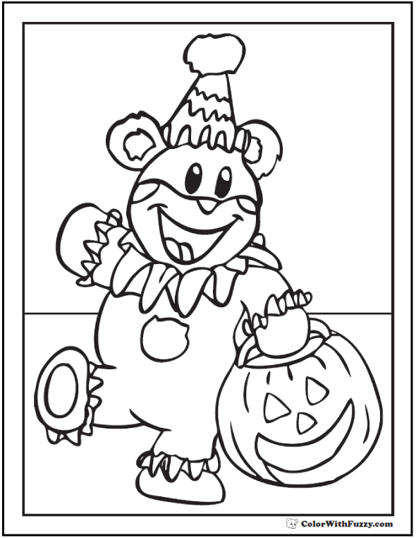 Halloween Bear Clown: Jack O'Lantern Coloring
