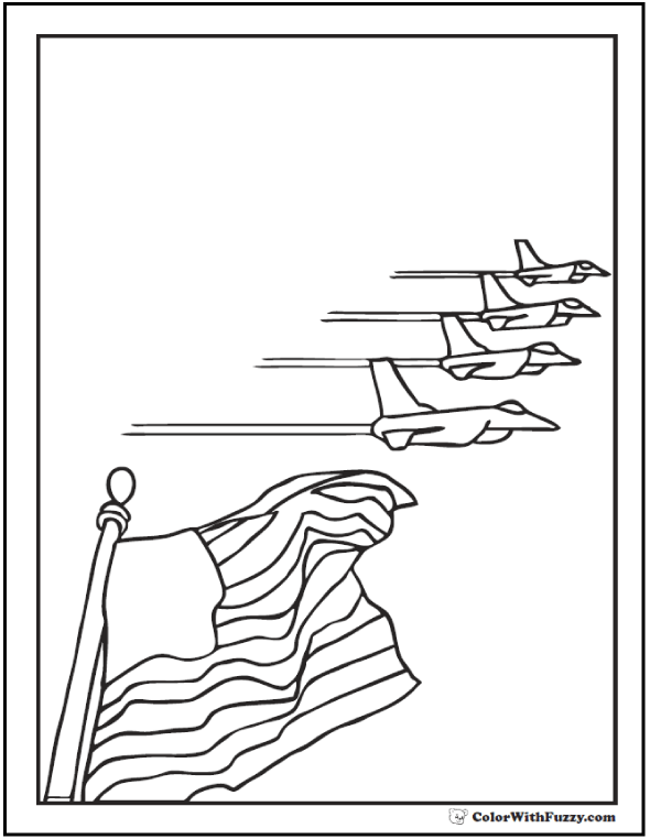 Four jet salute Fourth of July coloring page.