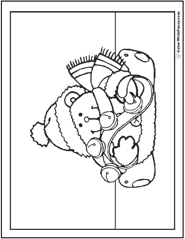 Jingle Bells Teddy Bear Coloring