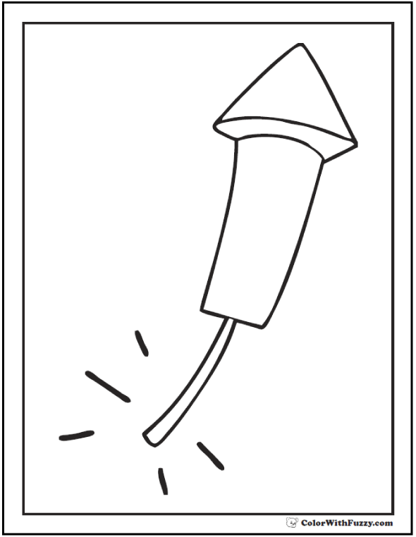 Rocket Fourth of July coloring page.