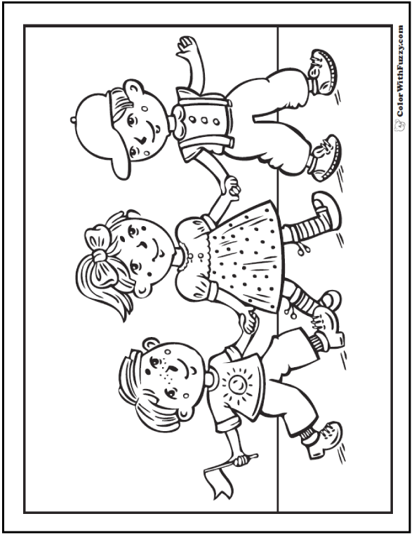 Kids Fourth of July coloring page.