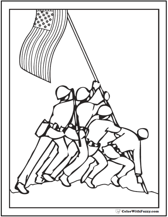 Fourth of July coloring page. Iwo Jima men lifting flag.