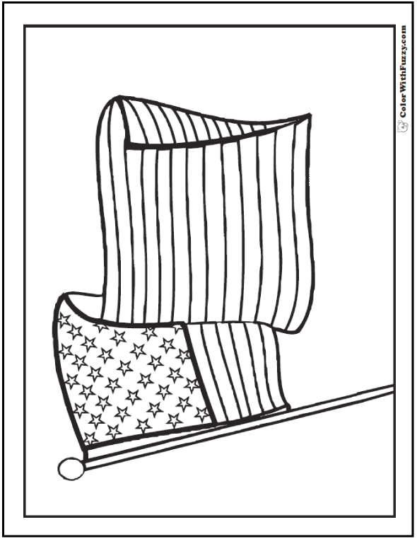 Waving flag Fourth of July coloring page.