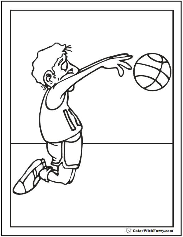 Jump Shot Basketball Coloring Pages To Print