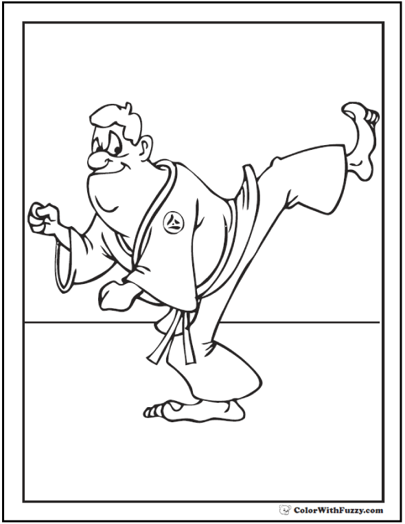 Karate Coloring Sheet: Kick and Chop