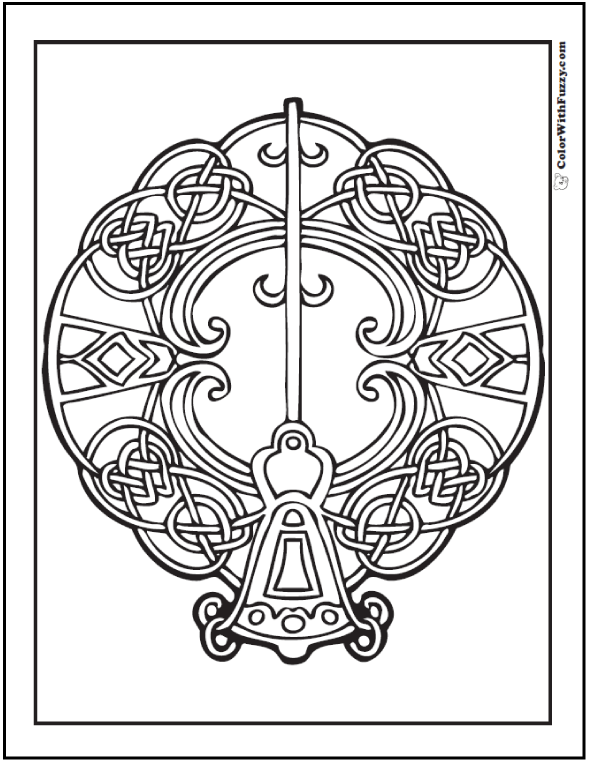 Fuzzy's Celtic coloring page has a key on Celtic knots theme.