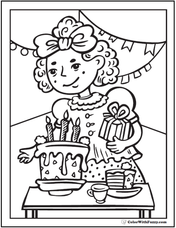kids birthday party coloring page - Book Pictures To Color
