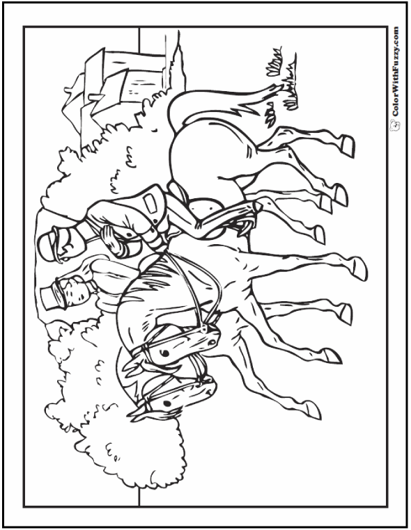 Realistic Horse Coloring Pages: Lady And Gent
