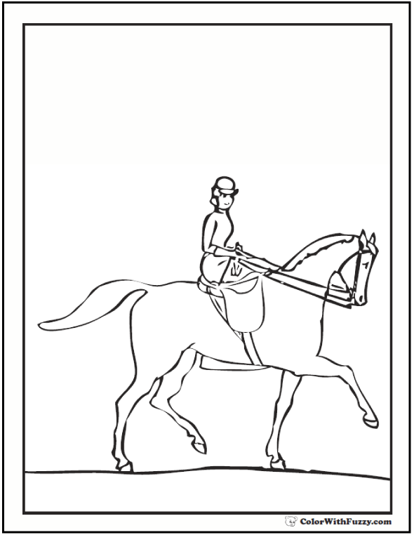 Lady Riding A Horse Coloring Page: Riding Side Saddle