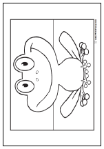 Fun frog coloring pages: Smiley face.