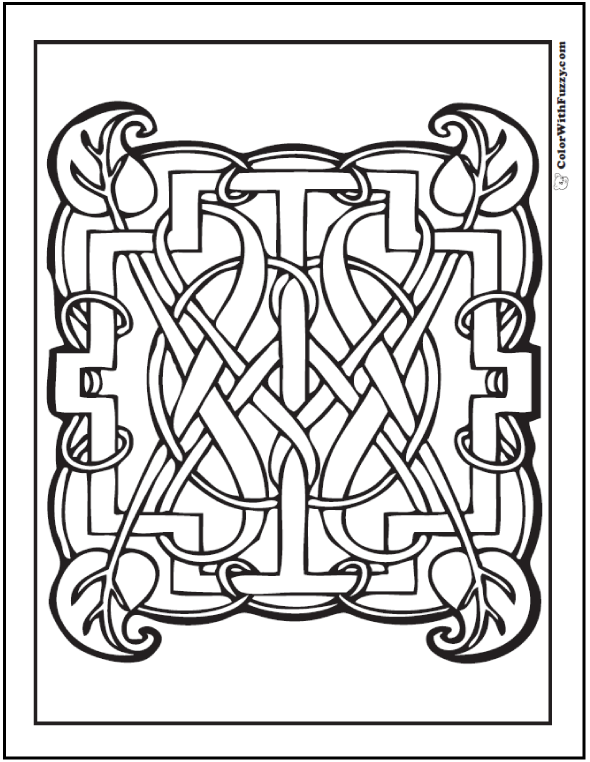 Elegant Leaf Celtic Knots Design Coloring Page