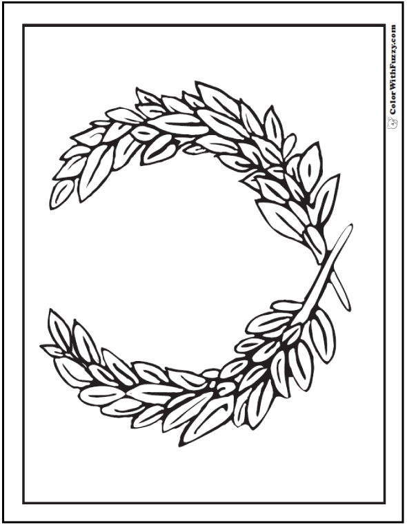 Laurel Leaf Geometric Coloring Page