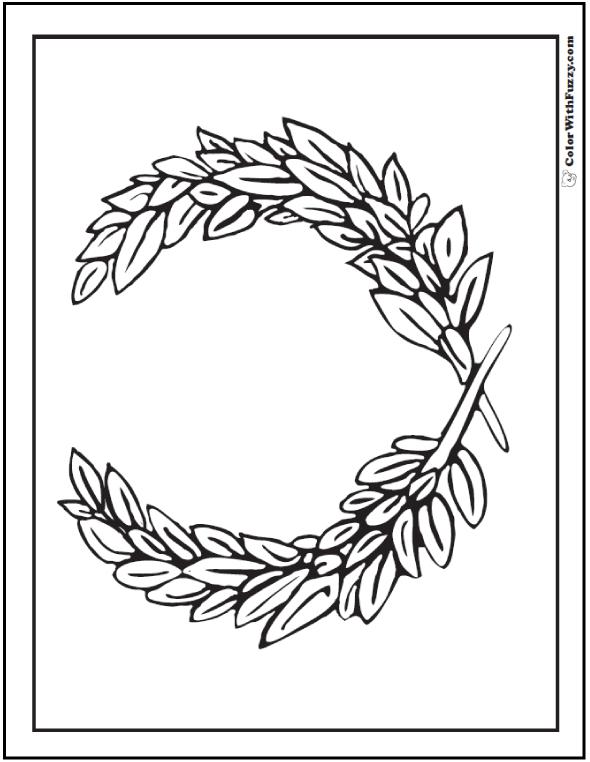 Laurel Leaf Geometric Coloring Page