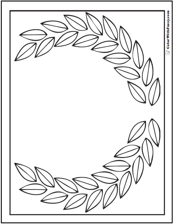 Leaf Geometric Coloring Pages: Honor your day with a laurel wreath!