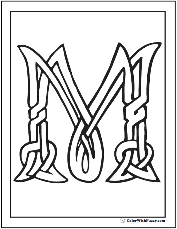 Letter M Celtic Coloring Page
