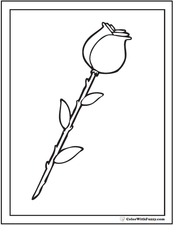Long Stem Rose Bud Coloring Printable
