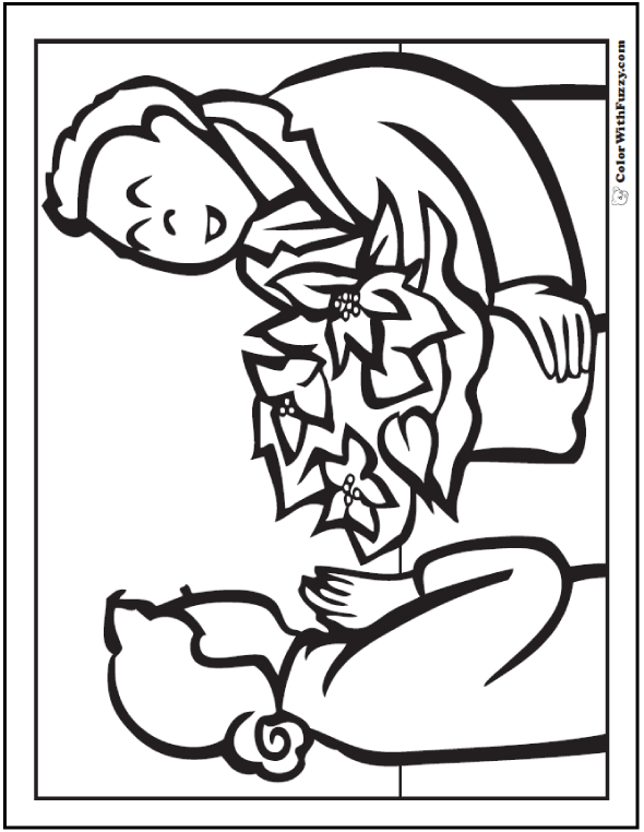 Poinsettia Coloring Page: Man Giving Christmas Gift To Lady.