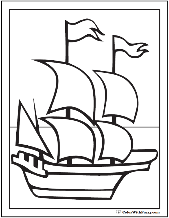 Thanksgiving Coloring Page: Mayflower Ship Picture