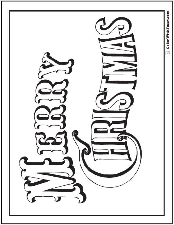 Merry Christmas Coloring Pages: Poster Or Banner Old Time Font