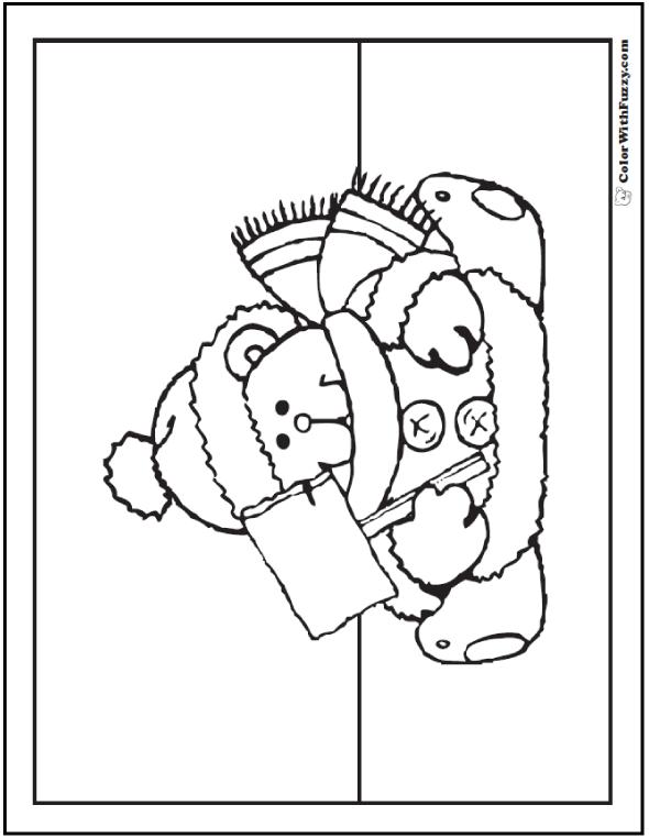 Christmas Bear Coloring Sheet