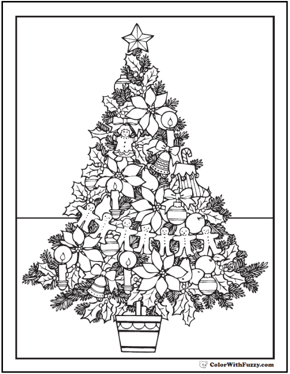 Christmas Tree Coloring Pages: Merry Christmas Tree Coloring Page