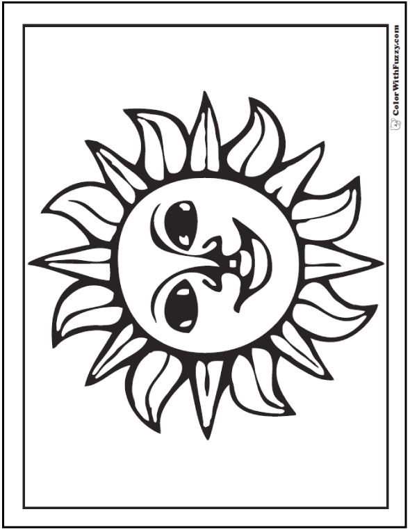 Fiesta Mexican Sun Coloring Page