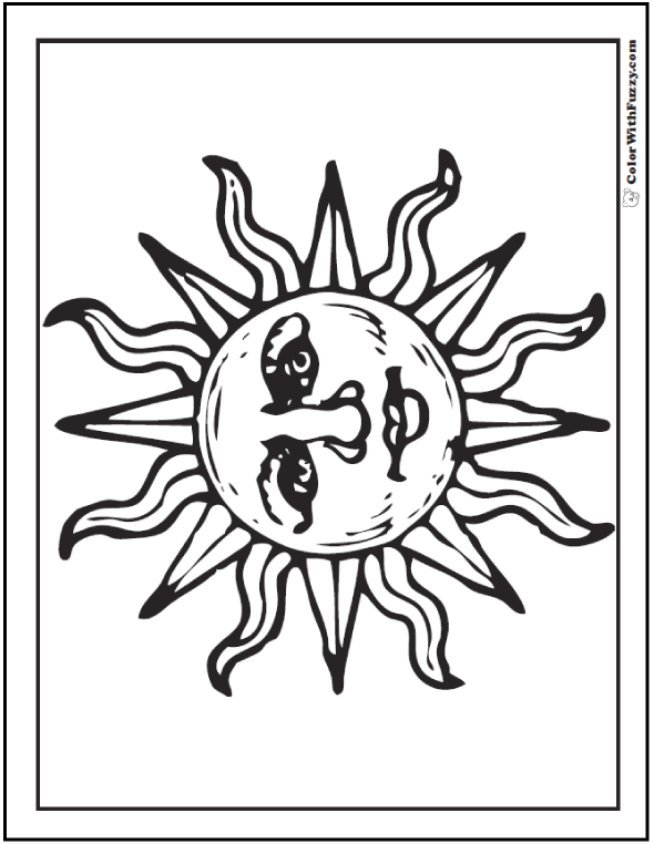 Mexican Sun Coloring Sheet