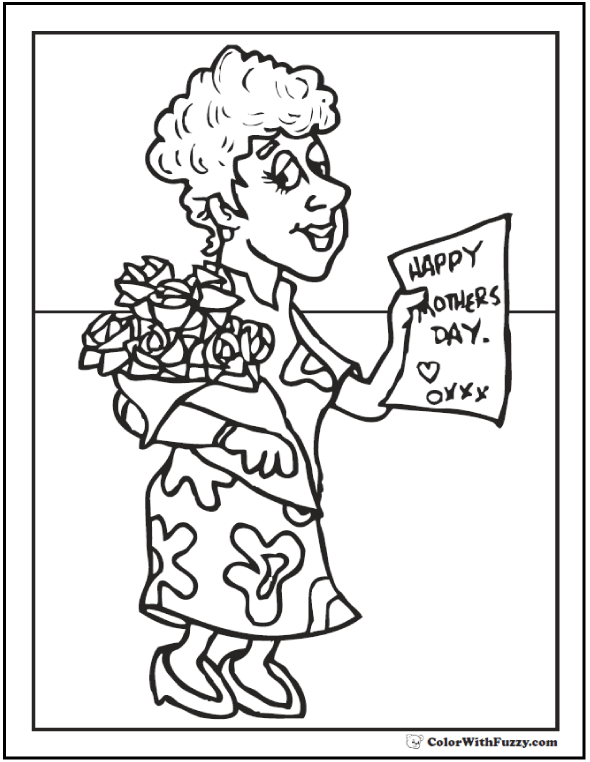 Roses For Momma Printable To Color