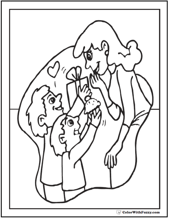 Gifts For Mom Coloring Sheet