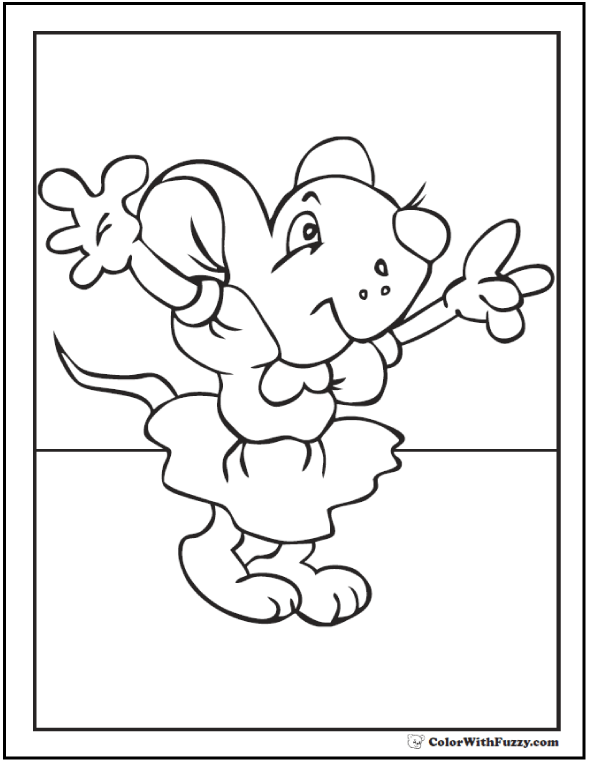 Momma mouse coloring page for kids!