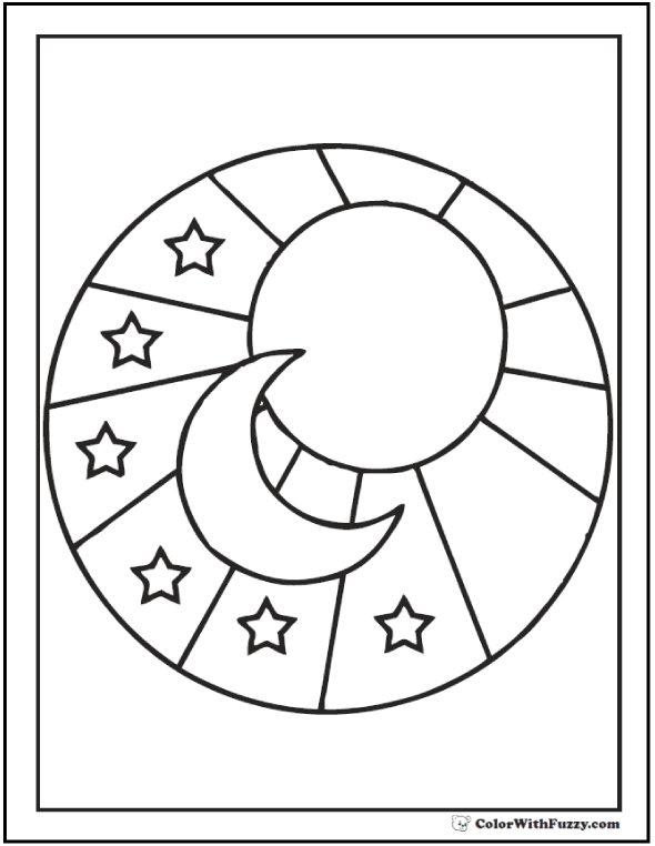 Sun Moon Star Picture To Color