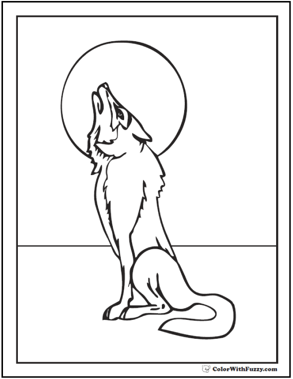 Coloring picture of a wolf howling at the moon.