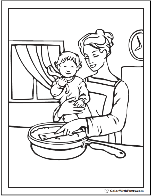 Mother's Day Coloring Page: Mom And Daughter Together In The Kitchen