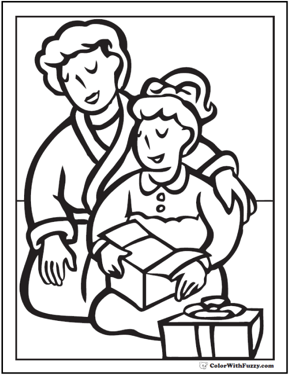 Mother And Daughter Gift Coloring Picture