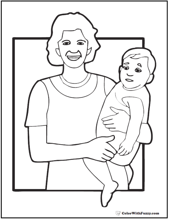 Modern Mother And Child Mother's Day coloring page.