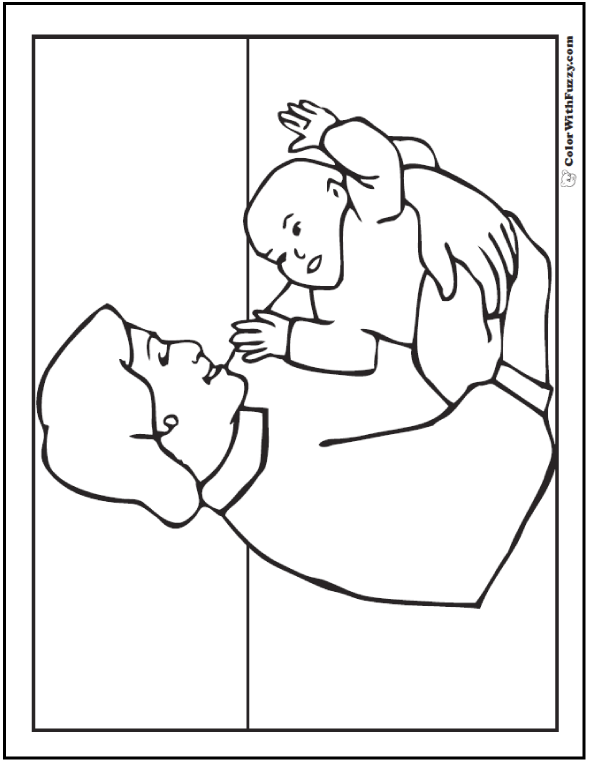 Mom And Baby Coloring Picture