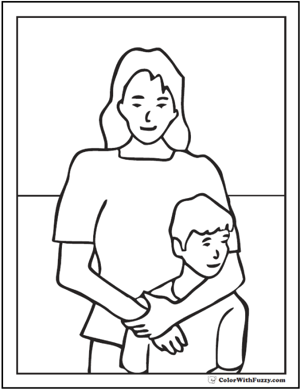 Mom And Son Mothers Day Coloring Pictures