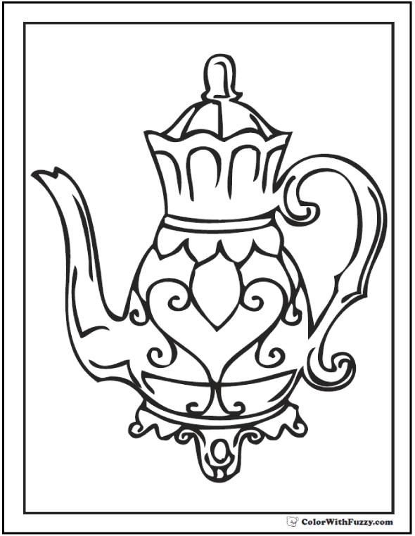 Mothers Teapot Coloring Page