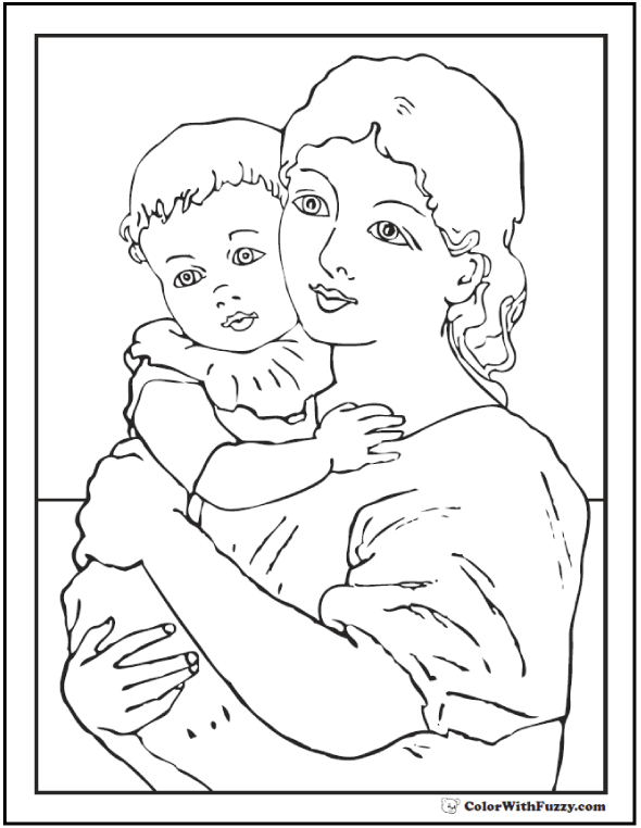 Gentle Mother and Child Picture To Color