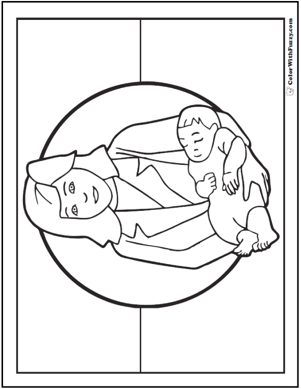 Mothers Day Coloring: Mom and baby boy.
