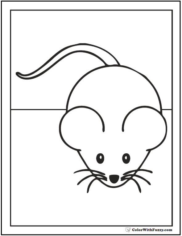 Little Mouse Coloring Picture For Kids