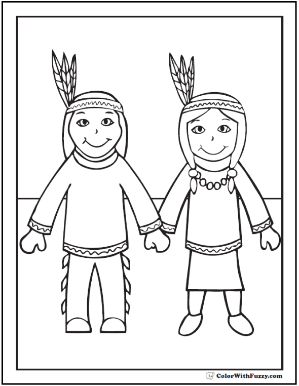 Native Indian Coloring Sheet: Boy and Girl