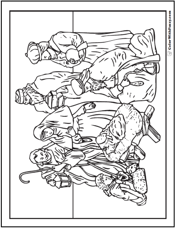 Christmas Coloring Pictures Nativity Scene Page