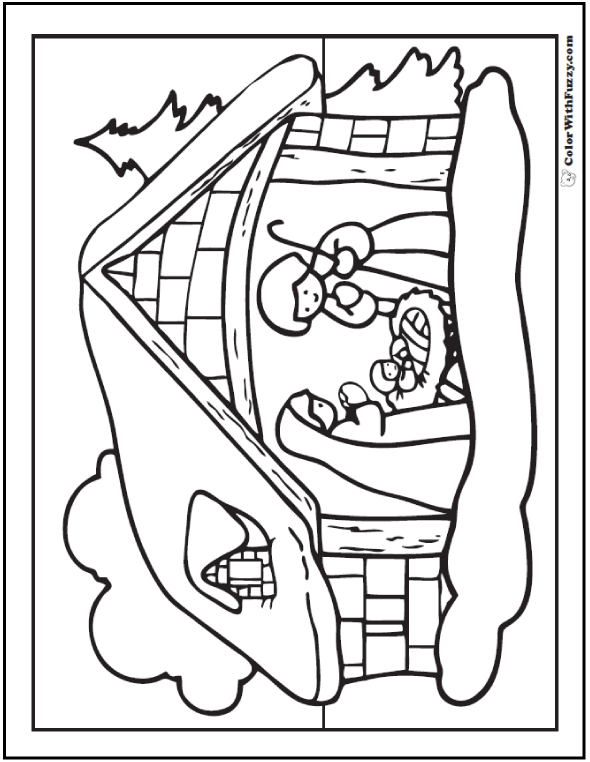 Nativity Scene Coloring Pages: Jesus, Mary, and Joseph - Snowy Stable