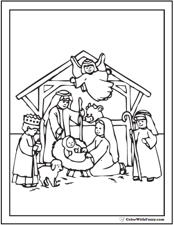 Nativity Scene Coloring: Jesus, Mary, Joseph, Angel, King Shepherd