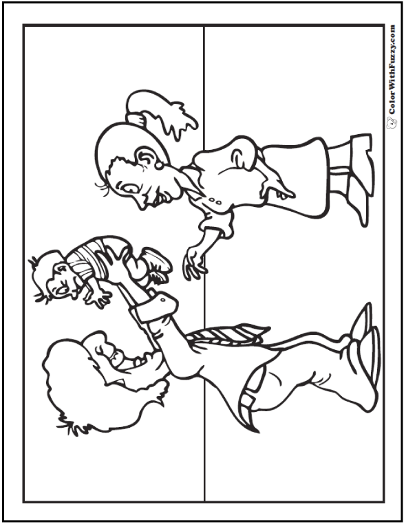 New Dad, Mom and baby Father's day coloring sheet.  #FathersDayColoringPages and #KidsColoringPages at ColorWithFuzzy.com